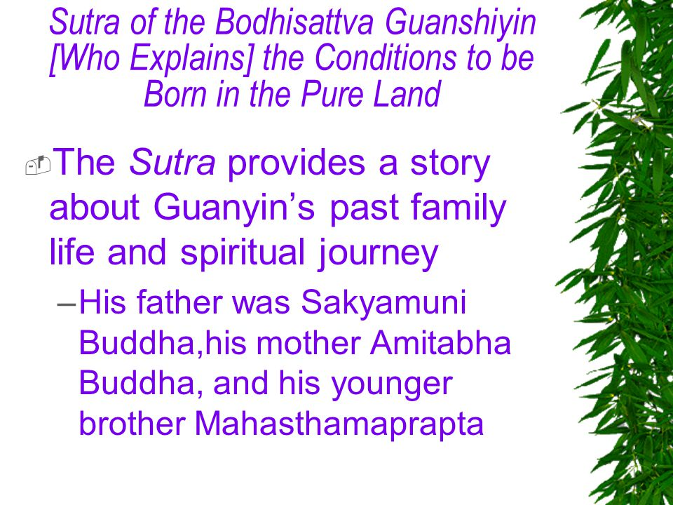 Sutra of the Bodhisattva Guanshiyin [Who Explains] the Conditions to be Born in the Pure Land